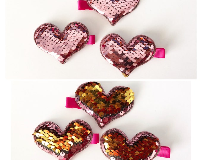 Featured listing image: Multi Colored Reversible Sequence Heart Hair Clip Barrettes by Wee Kings