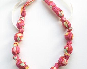 Pink Eden Fabric Teething Nursing Necklace by Wee Kings
