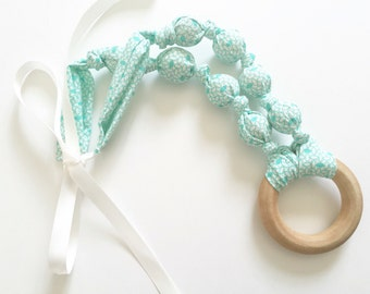 Happiness Fabric Teething Ring Nursing Necklace by Wee Kings