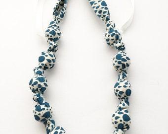 Organic Raindrops in Navy Fabric Teething Nursing Necklace by Wee Kings