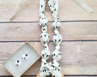Gray Pennant Fabric Teeething Ring Necklace by Wee Kings