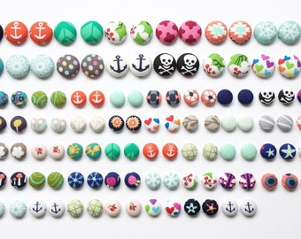 Custom Fabric Button Earring Set by Wee Kings