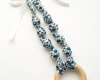 Organic Raindrops in Navy Fabric Teething Ring Nursing Necklace by Wee Kings