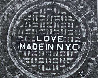 Love: white on black-Coaster / Print