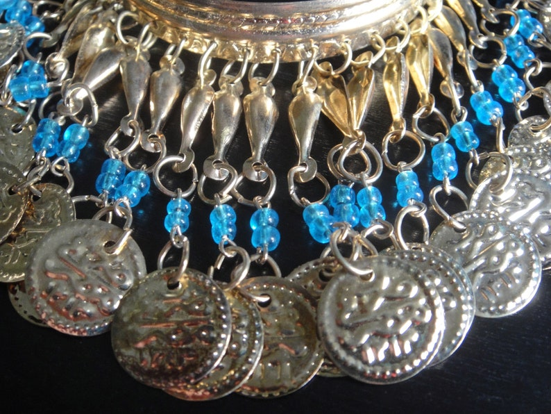 Egypt - Egyptian Ankle Bracelet Handcrafted Gift EGYANK005 Blue Beads Metal Gold Tone Anklet Costume Jewelry