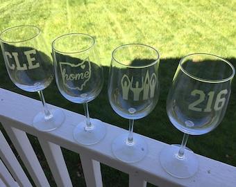 Cleveland Wine Glasses -  Cleveland Glasses - Four Etched Wine Glasses - Cleveland  - OHIO - Cavaliers - Indians