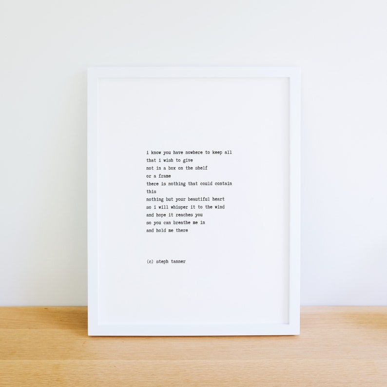 poetry print  i know you have nowhere to keep all image 0