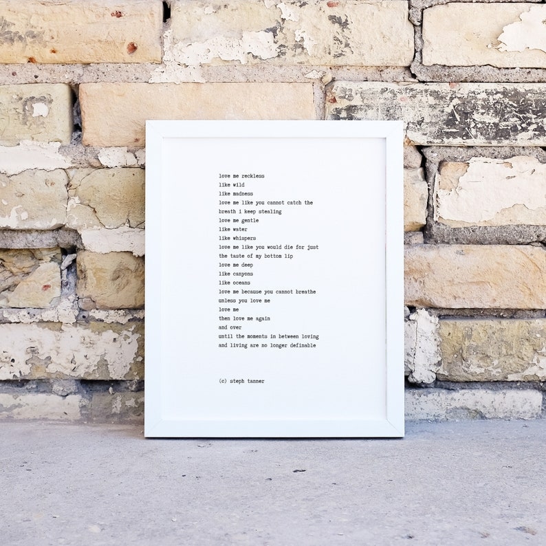 poetry print  love me reckless image 0