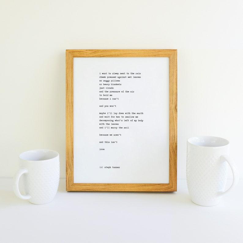 poetry print  i want to sleep next to the rain image 0