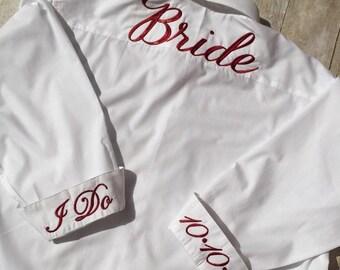 Bride Shirt for Wedding Day,Bridesmaids Button Down Shirt, Bride Shirt, Bride's Button Down Shirt, Wedding Day Bride Shirt