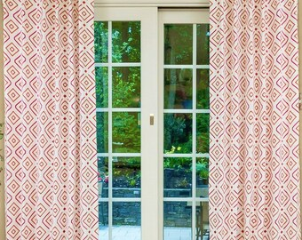Custom Drapes- Geometric Drapes, Cotton-Polyester Curtains, Pinch Pleat, Drapery Panels, Window Treatments, Made-to-Order, Embroidered