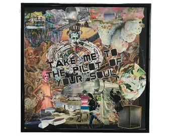 Take Me Vinyl Record Cover Collage Art Original Mixed Media Album Cover Artwork Framed Home Decor Upcycled  Abstract Wall Art
