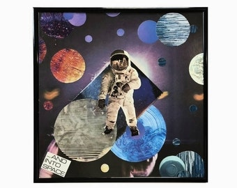 And Into Space Original Vinyl Record Cover Intergalactic Collage Mixed Media Artwork Framed Home Decor Vintage Music Upcycled Materials