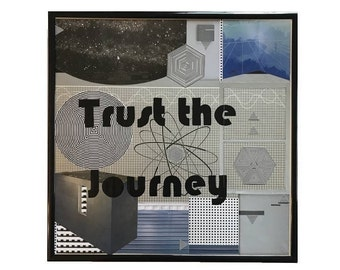 Trust the Journey Original Collage Artwork Vintage Vinyl Record Cover Art Framed Mixed Media Metallic Intergalactic Home Decor Wall Art