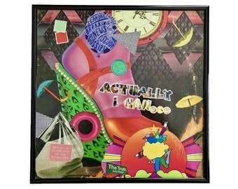 Actually I Can Vinyl Record Cover Collage Art Original Mixed Media Album Cover Artwork Framed Home Decor Upcycled Abstract Wall Art