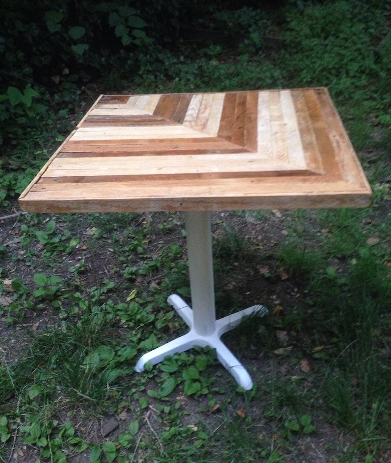 Reclaimed Lath Wooden Dining Table with White Metal Base