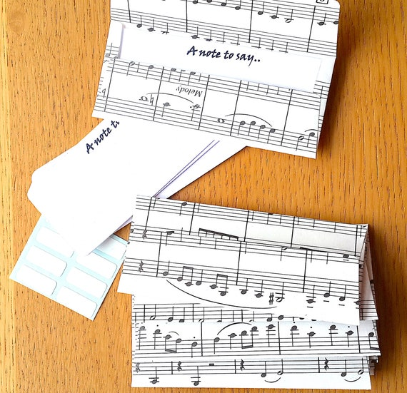 Music Mini Envelopes Gift Card 16 Sheet Note Cards