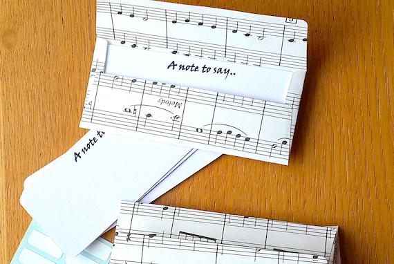 Music Mini Envelopes Gift Card 16 Sheet Note Cards