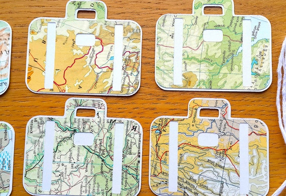 Travel theme gift tags 9 suitcase shaped world map gift tags gumiabroncs Gallery