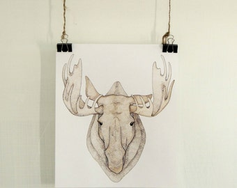 Moose Watercolor Print