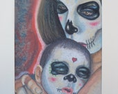 Mommy and me sugar skull art catrina art baby and mom grieving gift original art mother 39 s day art day of the dead sugar skull art