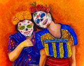 Guatemalan Twins -mexican guatemalan art traditional folk Limited Edition Day of the Dead signed numbered 8x8 Art Print by Fryda Fernandez