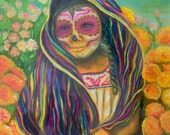 Marigold -Limited Edition Day of the Dead tende con teschio girl power, women power numbered 8x10 Art Print by Fryda Fernandez