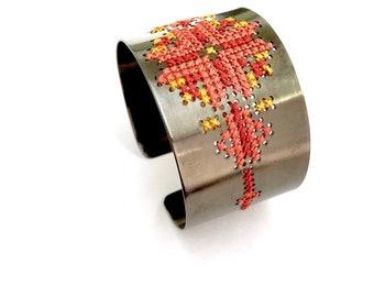 cross stitch embroidery cuff bracelet