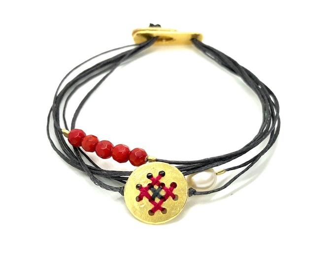 cross stitch multi cord bracelet