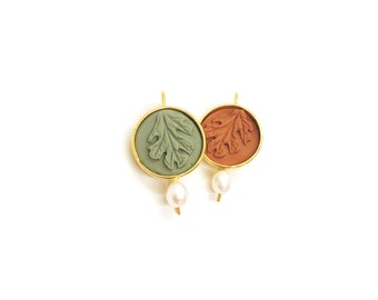 clay leaf earrings with pearls