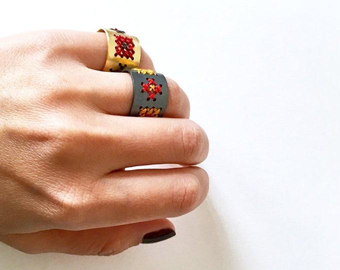 cross stitch band ring