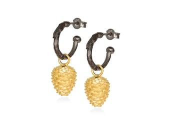 pine cone hoop earrings