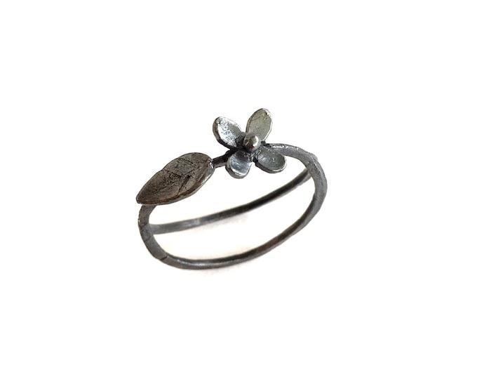 silver flower branch ring