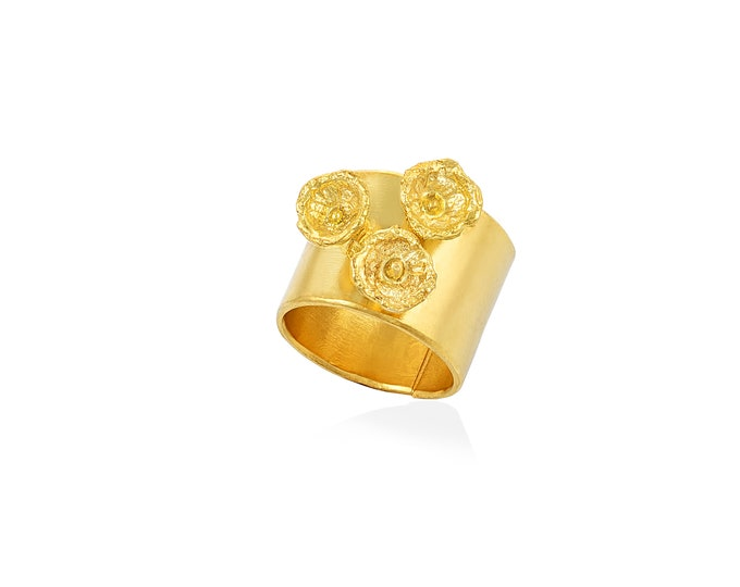 Bell flowers band ring