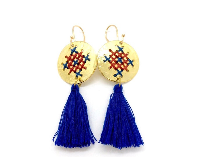 cross stitch embroidery earrings