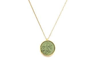 clay leaf necklace