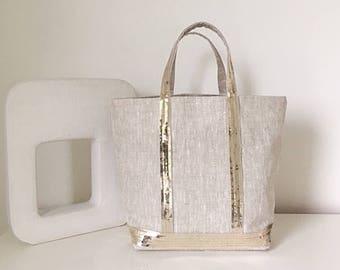 Glittery bag size M or M + natural melange linen / light gold