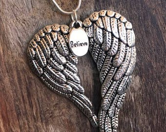BELIEVE ANGEL WING Pendant Necklace