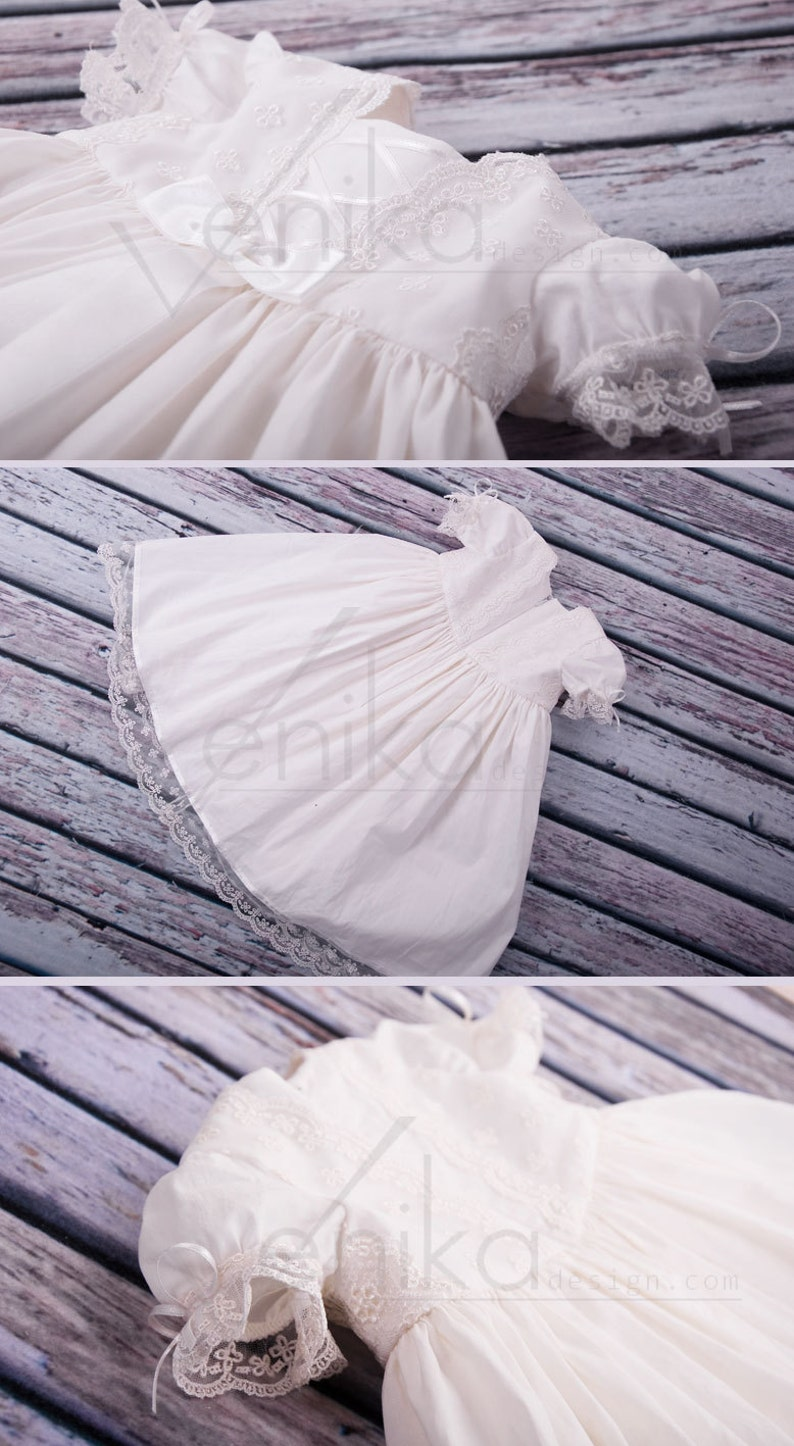 cotton baptism dress white or ivory very simple and delicate baby dress with lace,
