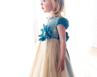 baby flower dress-gold baby dress-flower girl dress-Handmade in Europe-baby wedding dress-turquoise baby dress-size 18m - 5Y