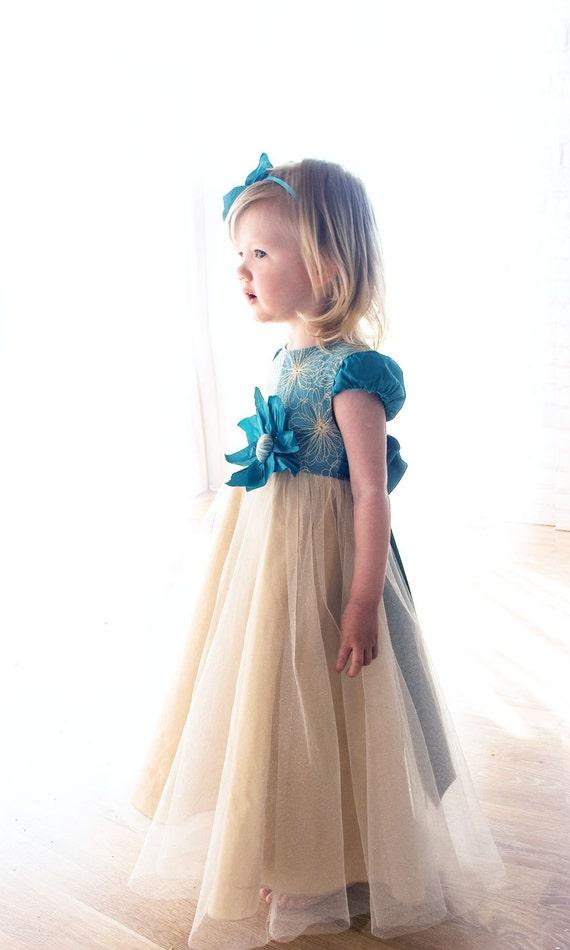 Baby Kleid-Gold Baby Kleid-Blume Blumenmädchen