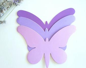 Butterfly die cuts (A),Purple butterfly die cuts,Large Purple butterfly cut outs,Paper Butterfly,Wedding Butterfly,Large butterfly die cuts
