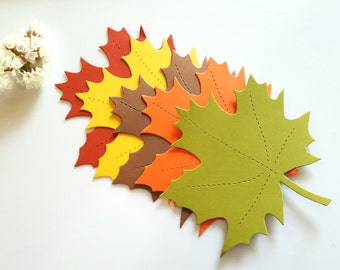 Maple leaf die cuts (A),Large leaf cut outs,Maple leaves,Gold leaf diecuts,Autumn Decor,Paper leaves,Leaf gift tags,Large paper leaves,Leaf