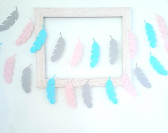 Feather garland,Pick Colors,Feather decor,Hobo garland,wild one party,feather banner,,Boho wedding decorations,Tribal Party garland Boho