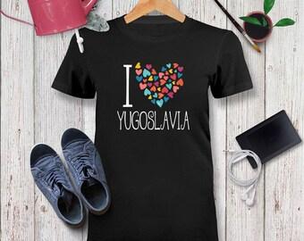 dfa2b8b21 I love Yugoslavia colorful hearts Tshirt Unisex Adult