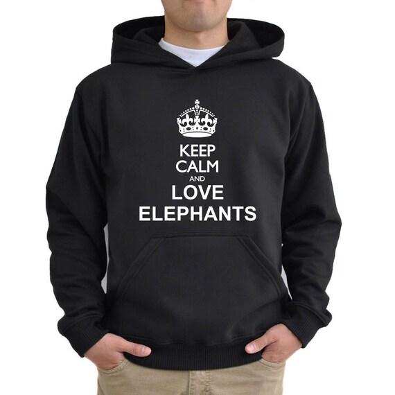 c809d9c3866f1 Keep calm and love Elephant Hoodie