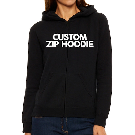 Add a text on your custom-made Women Zip Hoodie Create your  aa237fbbb2