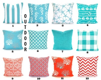 Coral Outdoor Pillow Etsy
