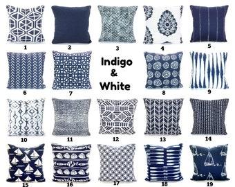 Throw Pillow Covers Navy White Pillows Decorative Cushions Vintage Indigo  White Paisley Nautical Couch Bed Pillows Cotton Various Sizes 76a13c8eb565