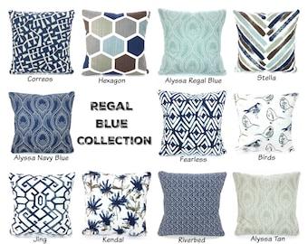 Pillows Navy Blue Brown Tan Gray White Decorative Throw Pillow Covers Cushions  Decorative Pillows Regal Blue Slub Canvas Various Sizes 9efc21750a